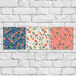 Conjunto de Quadros Decorativos Estampa Floral Fundos Coloridos - Em Canvas