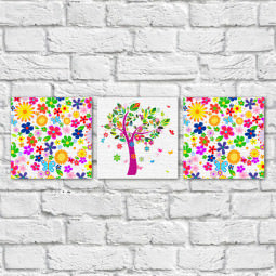 Conjunto de Quadros Decorativos Estampa Floral Árvore Abstrata