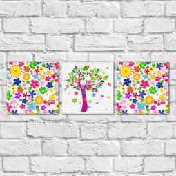 Conjunto de Quadros Decorativos Estampa Floral Árvore Abstrata - Em Canvas