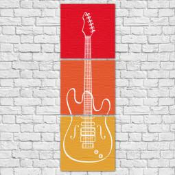 Conjunto de Quadros Decorativos Guitarra - Em Canvas