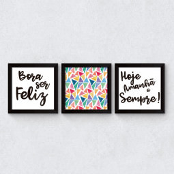 "Conjunto de Quadros Decorativos ""Bora ser Feliz"" II"