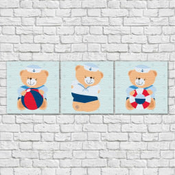 Conjunto de Quadros Decorativos Infantil Ursinhos Marinheiro - Em Canvas