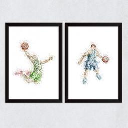 Quadro Decorativo Jogadores Basketball Abstrato