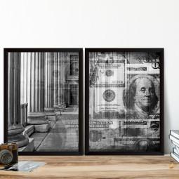 Conjunto de Quadros Decorativos Bolsa de Valores