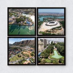 """Conjunto de Quadrinhos Decorativos """"Pontos Turísticos Belo Horizonte"""""""
