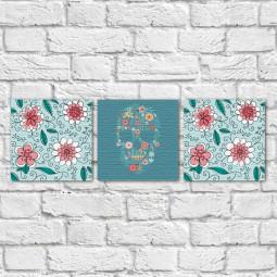 Conjunto de Quadros Decorativos Caveira Mexicana Estampa Floral - Em Canvas