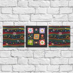 Conjunto de Quadros Decorativos Flores Infantis e Ondas - Em Canvas