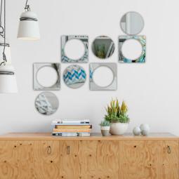Espelho Decorativo Quadrados e Bolas. Confeccionado em Acrílico Espelhado