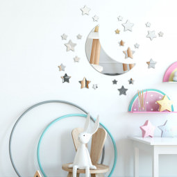 Espelho Decorativo Infantil Meia Lua e Estrelas