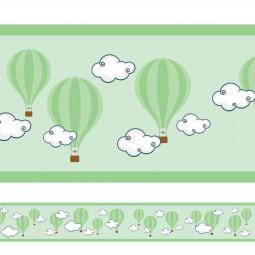 Faixa Decorativa Balões Nuvens - Verde