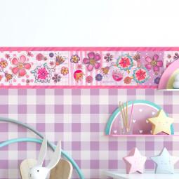 Faixa Decorativa Infantil Floral Fundo Rosa - Has#Tag - Rolo com 5 Metros