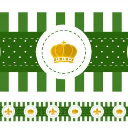 Faixa Decorativa Coroa e Flor de Lis - Verde