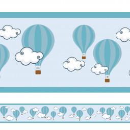 Faixa Decorativa Balões Nuvens - Azul