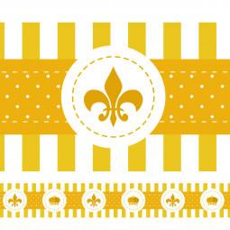 Faixa Decorativa Coroa e Flor de Lis - Amarela