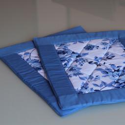 Jogo Americano Patchwork Azul e Floral ( 2 unidades )