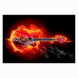 Painel Decorativo Guitarra em Chamas
