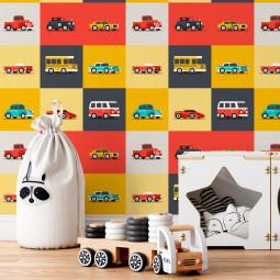Papel De Parede Infantil Colorido Carros Vintage