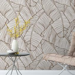 OUTLET-Papel de Parede Folhas de Palmeira (Marrom) - 2 Folhas de 320x56cm