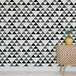 Papel de Parede Abstrato Triângulos (Preto e Cinza)