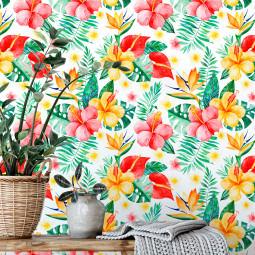 Papel De Parede Floral Tropical Hibiscos e Antúrios