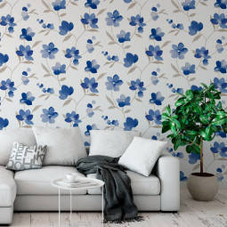 Papel de Parede Floral Aquarela - Flor Azul - Rolo com 10 Metros