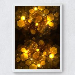 OUTLET - Quadro Decorativo Abstrato Geométrico Dourado