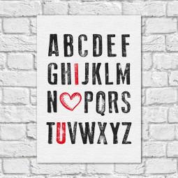 Quadro Decorativo I Love You - Alfabeto do Amor - Em Canvas