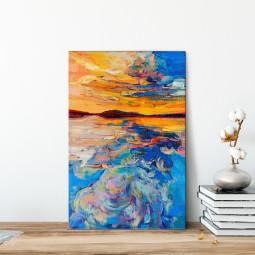Quadro Decorativo Pintura Abstrata Por do Sol - Em Canvas