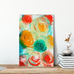 Quadro Decorativo Pintura Abstrata Bolinhas - Em Canvas
