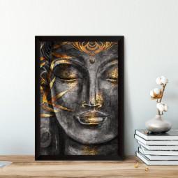 Quadro Decorativo Buddha - Detalhes Dourado