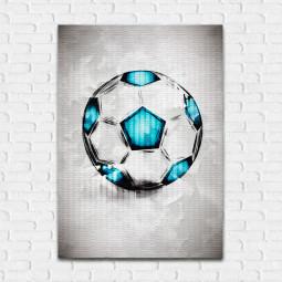 Quadro Decorativo Bola de Futebol Aquarela - Em Canvas