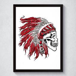 Quadro Decorativo Caveira Cocar Indígena