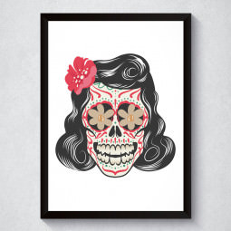 Quadro Decorativo Caveira Mexcana Feminina
