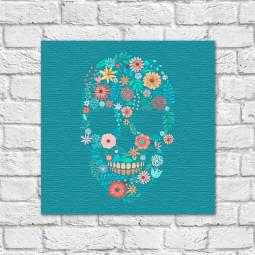 Quadro Decorativo Caveira Mexicana Floral - Em Canvas