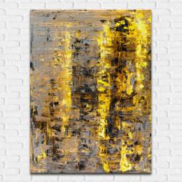 Quadro Decorativo Abstrato Destaque Amarelo - Em Canvas