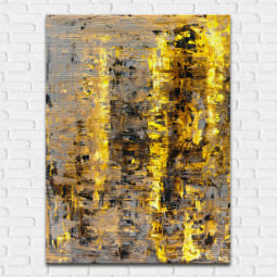 Outlet - Quadro Decorativo Abstrato Destaque Amarelo - Em Canvas