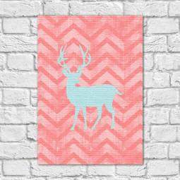 Quadro Decorativo Cervo Fundo Abstrato Rosa - Em Canvas