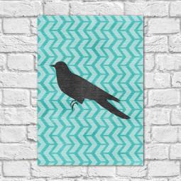 Quadro Decorativo Pássaro Fundo Abstrato Azul ( Em Canvas )