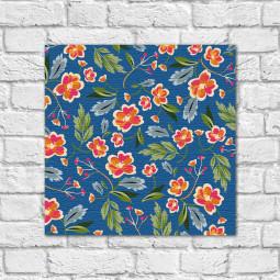 Quadro Decorativo Estampa Floral Fundo Azul - Em Canvas