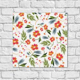 Quadro Decorativo Estampa Floral Fundo Branco - Em Canvas