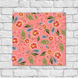 Quadro Decorativo Estampa Floral Fundo Rosa - Em Canvas