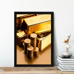 Quadro Decorativo Moedas e Barras de Ouro