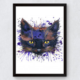 Quadro Decorativo Gato Preto Aquarela