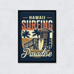 Quadro Decorativo Hawaii Surfing Paradise