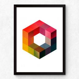 Quadro Decorativo Hexágono 3D