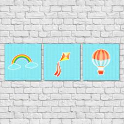 Conjunto de Quadros Decorativos Infantis Balão, Pipa e Arco-íris - Em Canvas