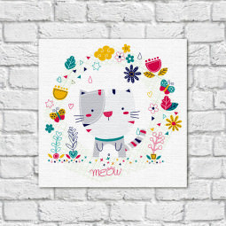 Quadro Decorativo Infantil Gato Meou