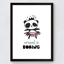 "Quadro Decorativo Infantil Panda ""Normal Is Boring"""