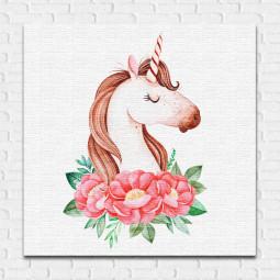 Quadro Decorativo Unicórnio Flores - Em Canvas