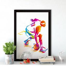 Quadro Decorativo Jogador de Basquete Colorido